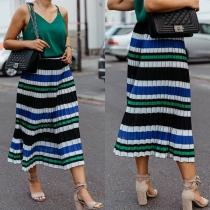 Fashion High Waist Striped Pleated Skirt