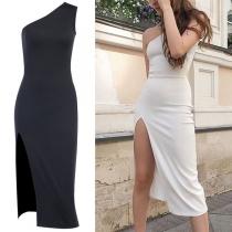 Sexy One-shoulder Slit Hem Sleeveless Slim Fit Dress