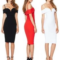 Sexy Off-shoulder V-neck Solid Color Slim Fit Sling Dress