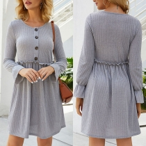 Fashion Solid Color Long Sleeve Round Neck Knit Dress