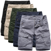 Fashion Solid Color Middle Waist Man's Knee-length Shorts