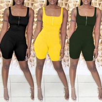 Sexy Backless Square Collar Sleeveless Slim Fit Romper