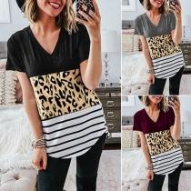 Fashion Leopard Spliced Short Sleeve V-neck T-shirt