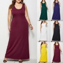 Fashion Solid Color Sleeveless Round Neck Tank Dress