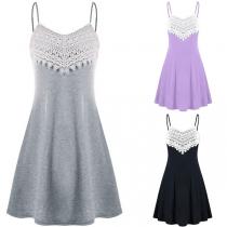 Sexy Backless V-neck Lace Spliced Sling Dress
