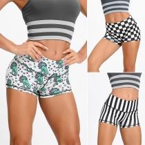 Fashion High Waist Printed Sports Shorts