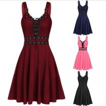 Sexy Backless Lace-up V-neck High Waist Sling Dress