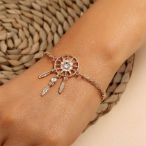 Chic Style Rhinestone Inlaid Dreamcatcher Pendant Bracelet