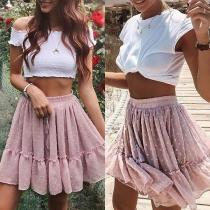 Fashion Elastic Waist Ruffle Hem 3D Dots Spliced Skirt