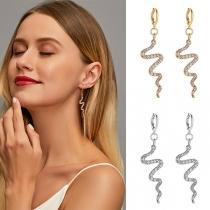 Simple Style Rhinestone Inlaid Wavy-line Earrings