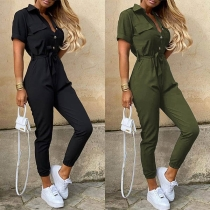 Fashion Solid Color Short Sleeve POLO Collar High Waist Jumpsuit