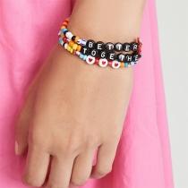 Fashion Letters Engraved Colorful Beaded Bracelet Set 3 pcs/Set