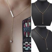 Simple Style Rhinestone Inlaid Tassel Pendant Necklace