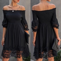 Sexy Off-shoulder Boat Neck Short Sleeve Lace Spliced Dress