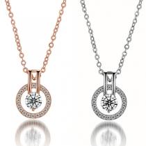 Fashion Rhinestone Inlaid Circle Pendant Necklace