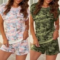 Fashion Camouflage Printed Short Sleeve T-shirt + Shorts Two-piece Set