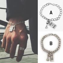Chic Style Dumbbell Pendant Man's Bracelet