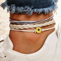 Fresh Style Daisy Pendant Braided Bracelet Set 3 pcs/Set