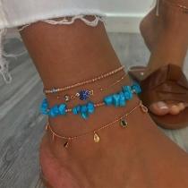 Bohemian Style Colorful Rhinestone Inlaid Beaded Anklet Set 4 pcs/Set