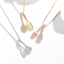 Creative Style Rhinestone Inlaid Fork & Spoon Pendant Necklace