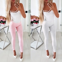 Fashion Solid Color High Waist Slim Fit Lace-up Pencil Pants