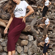 Fashion Solid Color High Waist Pleated Skirt