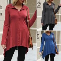 Fashion Solid Color Long Sleeve Irregular Hem Cardigan