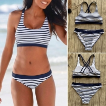 Sexy Low-waist Backless Striped Bikini Set