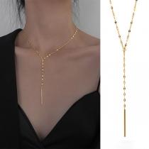 Fashion Gold-tone Long Tassel Pendant Necklace