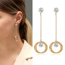 Fashion Rhinestone Inlaid Circle Ring Pendant Earrings