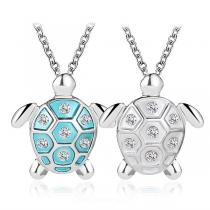 Cute Style Rhinestone Inlaid Tortoise Pendant Necklace