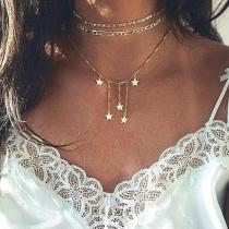 Fashion Pentagram Pendant Three-layer Necklace