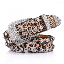 Fashion Rhinestone Inlaid Leopard Waistband