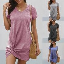 Fashion Solid Color Short Sleeve V-neck Tasted Hem Dress