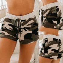 Fashion Drawstring Waist Camouflage Printed Sports Shorts