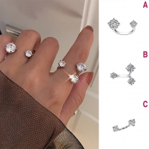 Fashion Rhinestone Inlaid Open Ring