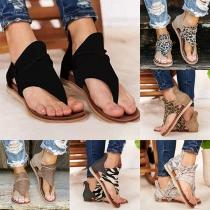Fashion Flat Heel Leopard Printed Thong Sandals