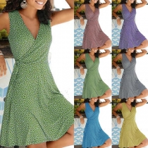 Sexy V-neck Sleeveless Printed Dress