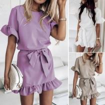 Sweet Style Short Sleeve Round Neck Ruffle Hem Dress