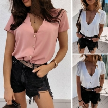 Sexy V-neck Short Sleeve Solid Color Blouse