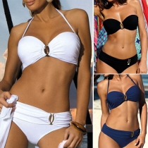 Sexy Low-waist Solid Color Halter Bikini Set