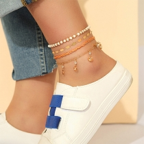 Bohemian Style Rhinestone Inlaid Beaded Anklet Set 4 pcs/Set