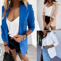 OL Style Long Sleeve Notched Lapel Solid Color Blazer