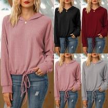 Fashion Solid Color Long Sleeve Drawstring Hem Hooded Sweatshirt