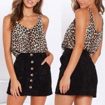 Fashion Sleeveless V-neck Leopard Printed Tank Top