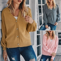 Fashion Solid Color Long Sleeve V-neck Knit Cardigan