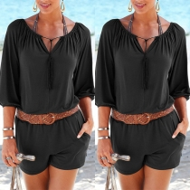 Fashion Solid Color Half Sleeve V-neck Romper