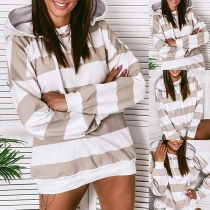 Fashion Long Sleeve Hooded Striped Sweatshirt