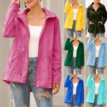 Fashion Solid Color Long Sleeve Drawstring Waist Hooded Waterproof Outdoor Jacket