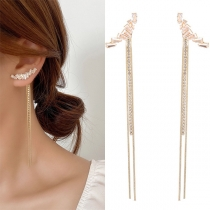 Fashion Rhinestone Inlaid Long Tassel Pendant Earrings
